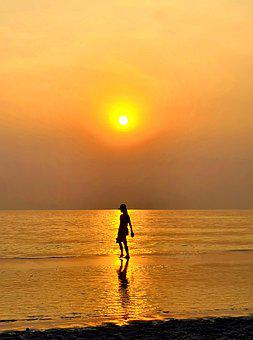 Sunrise, Water, Beach, Solar Light, Walk, Thailand