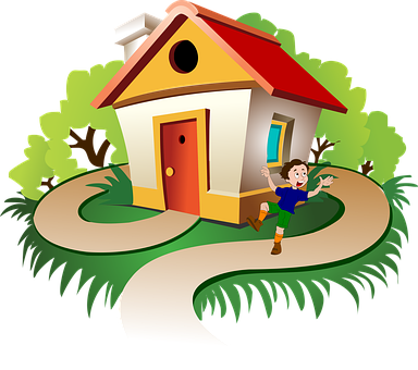 House, Boy, Drawing, Trees, Path, Walkway, Kid, Child