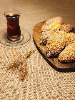 Bread, Tea, Food, Snack, Sesame Seeds, Pastry, Baked