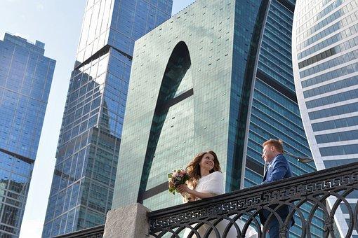 Couple, Wedding, City, Groom, Bride, Love, Romance