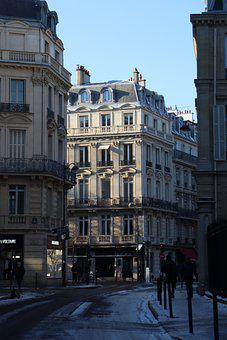 Street, Buildings, Paris, Road, Pavement, Apartments