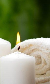 Candle, Flame, Towel, Candlelight, Light, Spa, Closeup