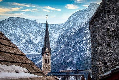 Church, Mountains, Winter, Steeple, Village, Buildings