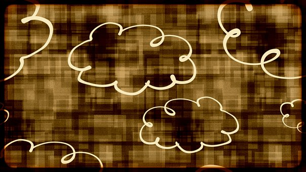 Clouds, White, Hovering, Neon, Art, Artwork, Halloween