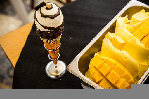 Ice Cream, Mangoes, Dessert, Food, Fruit, Snack, Gelato