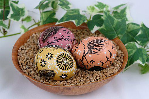 Easter Eggs, Easter Decoration, Bowl, Painted Eggs
