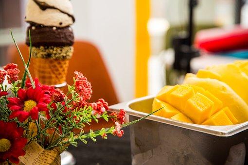 Mangoes, Dessert, Flowers, Decoration, Food, Fruit