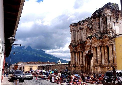 Old, Monument, Antigua, Guatemala, Architecture