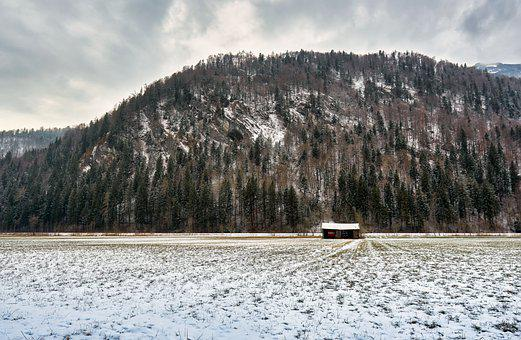 Meadow, Mountain, Snow, Winter, Cold, Hut, Valley