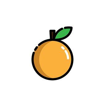 Orange, Fruit, Icon, Food, Modern Style, Cartoon