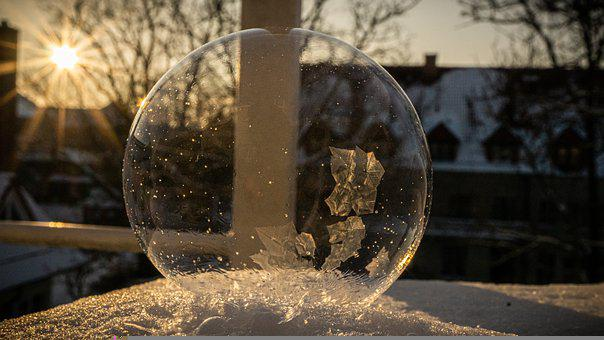 Bubble, Frozen, Snow, Light, Sunlight, Ice