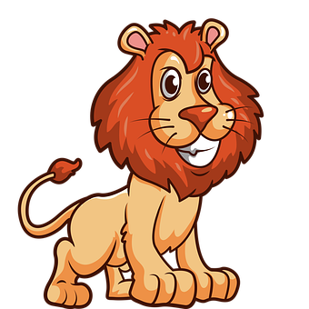 Lion, Animal, Cartoon, Mammal, Big Cat, Wild Animal