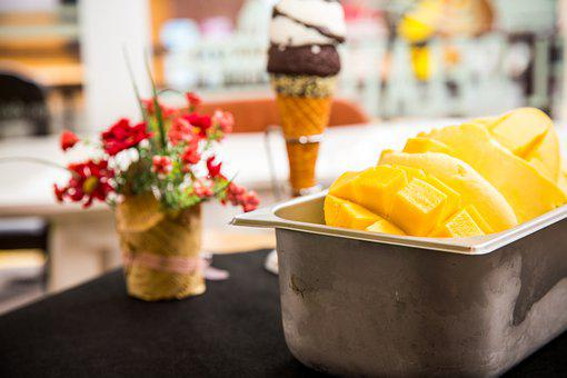 Mangoes, Ice Cream, Dessert, Food, Fruit, Snack, Gelato