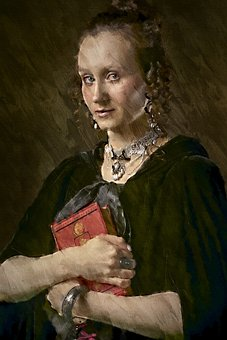 Woman, Book, Photo Art, Female, Girl, Model, Medieval
