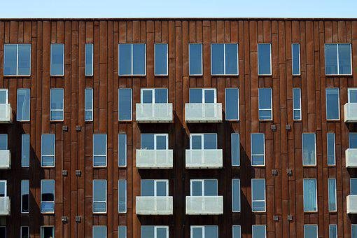 Apartment, Building, Architecture, Modern, Red, Brown