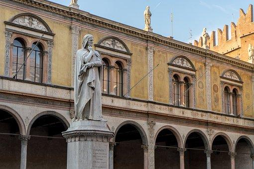 Dante, Sculpture, Verona, Statue, Italy, Monument, Poet