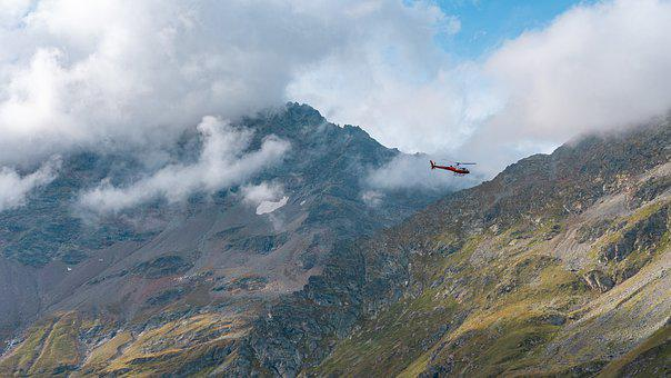 Mountains, Helicopter, Clouds, Fog, Peak, Summit