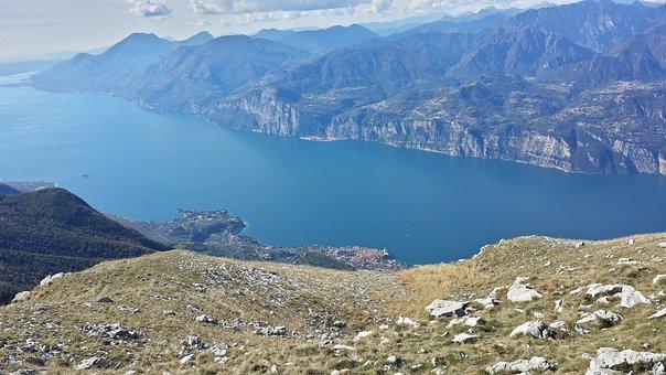 Garda, Lake, Italy, Outlook, Mountains, Water