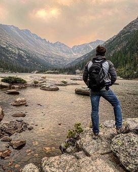 Lake, Mountains, Man, Tourist, Person, Traveler