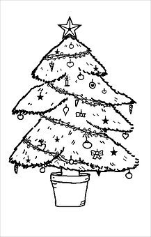 Christmas Tree, Coloring Book, Black And White, Outline