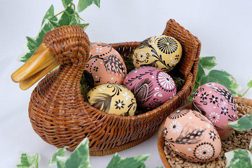 Easter Eggs, Easter Decoration, Basket, Painted Eggs