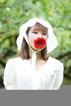 Girl, Smile, Woman, Beautiful, Portrait, White, Flower