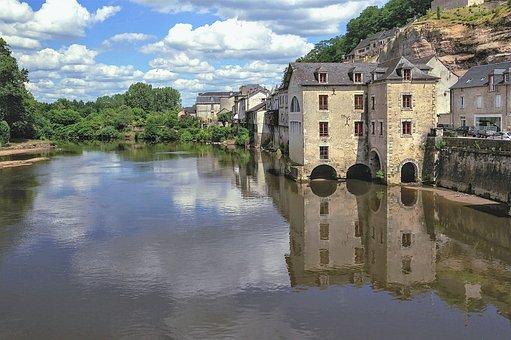 Village, River, Reflections, France