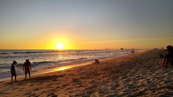 Beach, Ocean, Sea, Nature, Sunset, Seashore, Summer