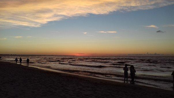 Sunset, People, Spacer, Sea, Twilight, Man, Summer