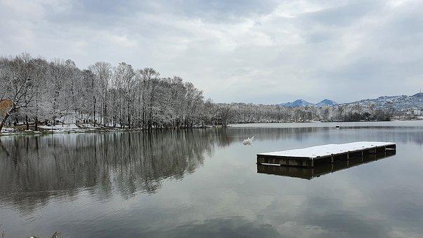 Nature, Beauty, Winter, Snow, Lake, Reflection, Sky