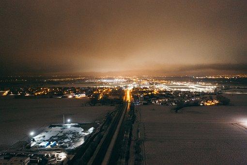 Drone, Truck, Logistics, Winter, Snow, Aerial, Cargo