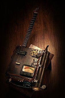 Guitar, Customized, Vintage, Toy, Steampunk, Luthier