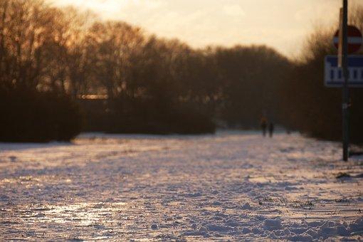 Road, Snow, Sunset, Winter, Street, Sunlight