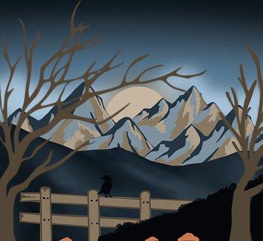 Mountains, Landscape, Sunset, Trees, Fence