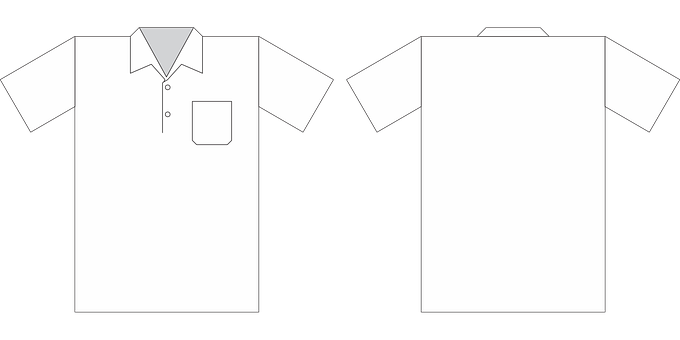 Polo Shirt, White, Mockup, Shirt, Uniform, Clothing