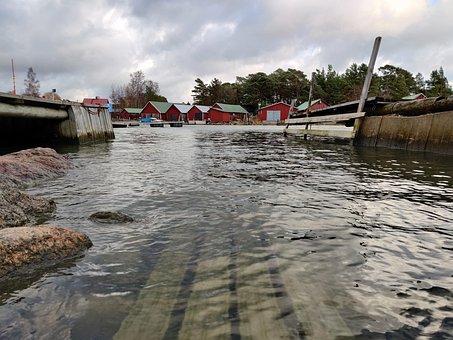Water, Surface, Waterline, Village, Ripples, Sea
