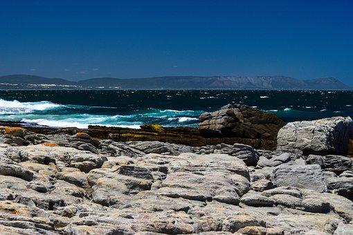 Ocean, Rocks, Hermanus, South Africa, Water, Shore