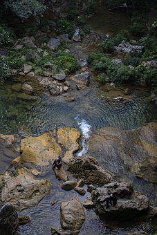 River, Rocks, Tourists, Stream, Water, Stones, People