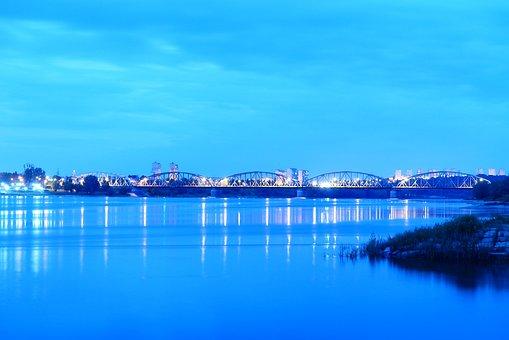 Bridge, River, City, Lights, Reflection, Water