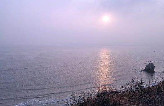 Beach, Sea, Sun, Sunlight, Fog, Mist, Ocean, Water