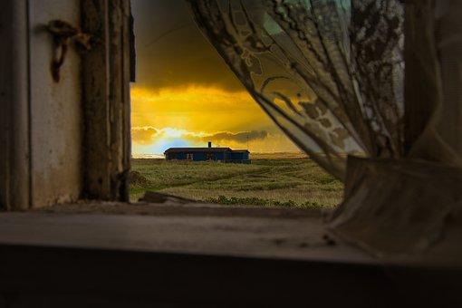 Window, Field, Sunset, Mood, Light, Sunlight, Building