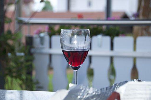 Wine Glass, Wine, Terrace, Evening, Drink, Glass