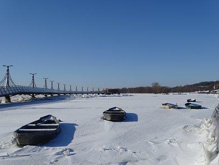 The Pier, River, Wisla, Boat, Landscape, Sky, City