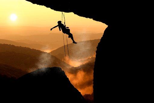 Mountain Climbing, Woman, Sunset, Silhouette, Sun