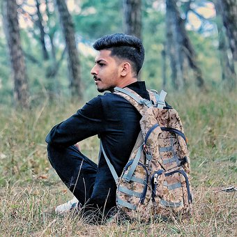 Man, Backpack, Meadow, Forest, Sitting, Rest, Traveler