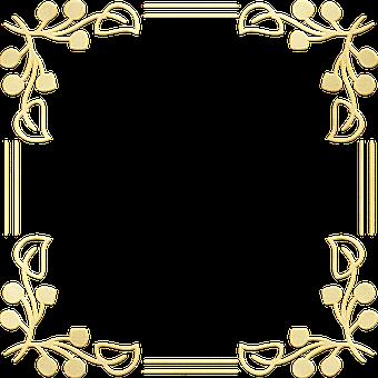 Gold Foil, Leaves, Frame, Border, Art Nouveau Frame