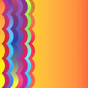 Digital Paper, Border, Rainbow, Wave, Bright Colors