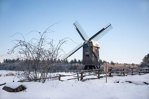 Hjerl Hede, Windmill, Winter, Museum, Building, Fence