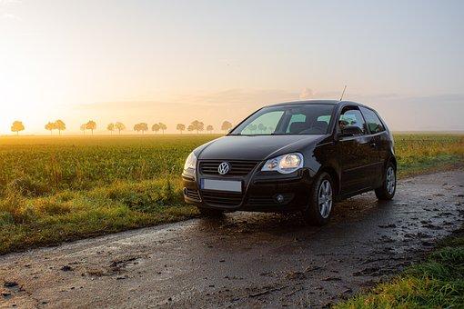Volkswagen, Car, Dirt Road, Sunrise, Sunset, Sunlight