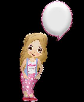 Girl, Speech Bubble, Cartoon, Anime Girl, Manga